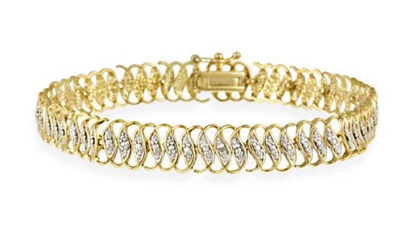 """18K Gold over Sterling Silver Diamond Accent """"S"""" Design Link Bracelet"""