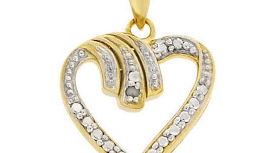 18K Gold over Sterling Silver Diamond Heart Pendant
