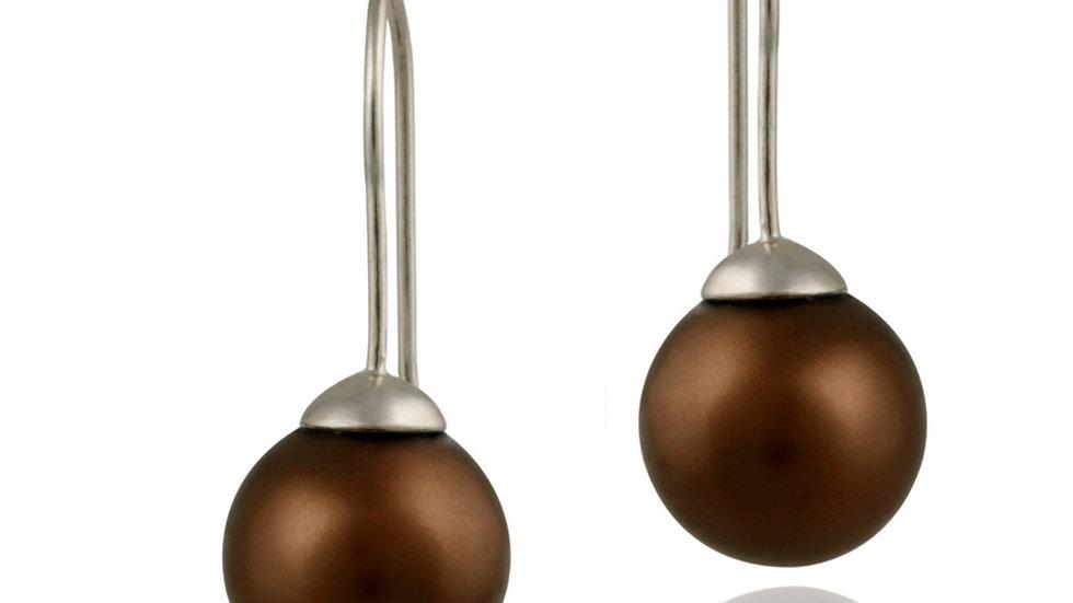 Sterling Silver 12mm Bronze Shell Pearl Drop Earrings