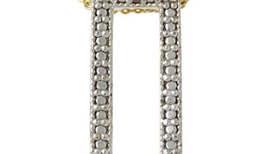 18k Gold over Silver Diamond Accented Rectangle Pendant
