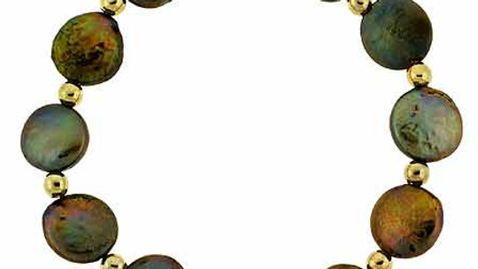 18K Gold over Sterling Silver Freshwater Cultured Coin Pearls & Beads Bracelet