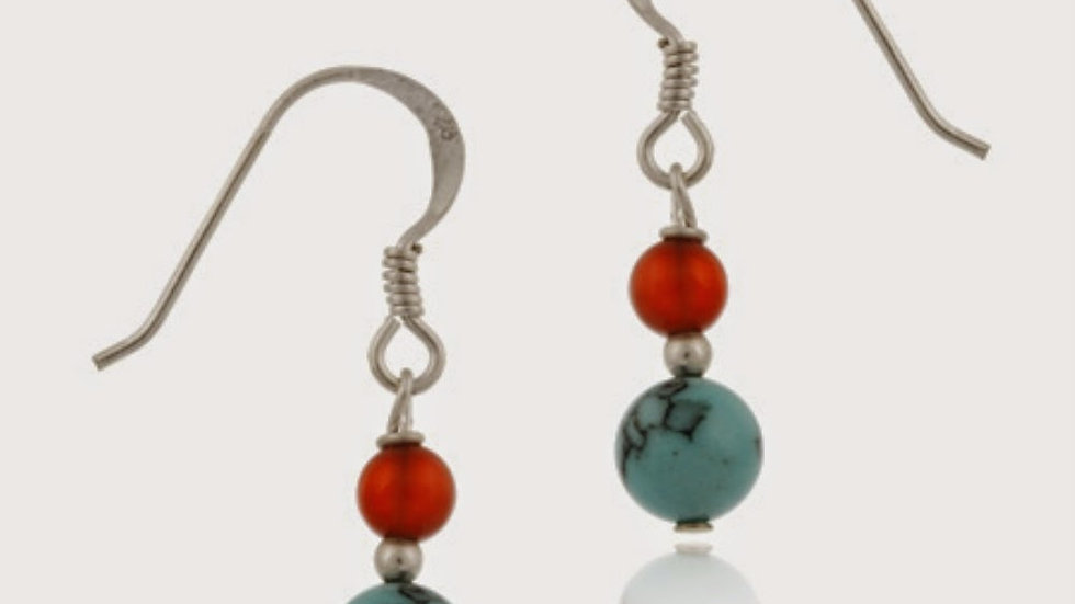 Sterling Silver Turquoise & Carnelian Bead Dangle Earrings