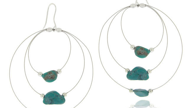 Sterling Silver Created Turquoise Nuggets 3-Row Wire Dangle Earrings