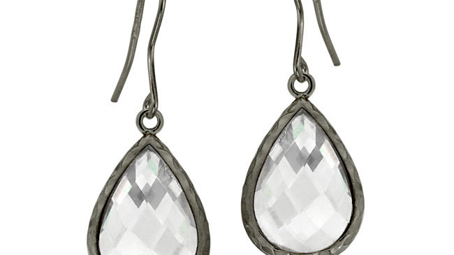Black Rhodium Overlay Sterling Silver 8ct CZ Teardrop Brushed Dangle Earrings