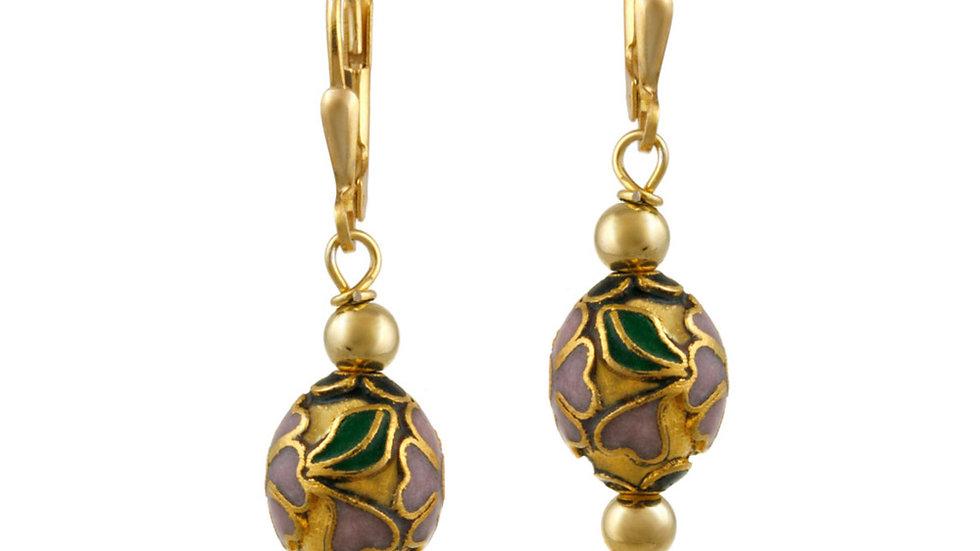 18K Gold over Sterling Silver Teal Cloisonne Oval Bead Dangle Earrings