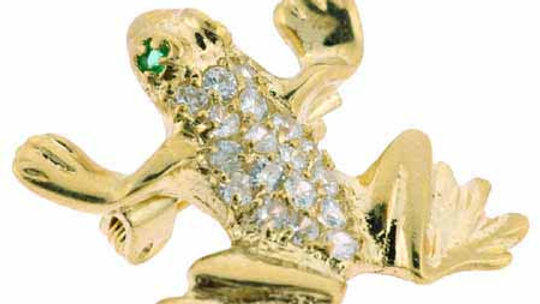 18K Gold over Sterling Silver CZ Leaping Frog Pin & Pendant