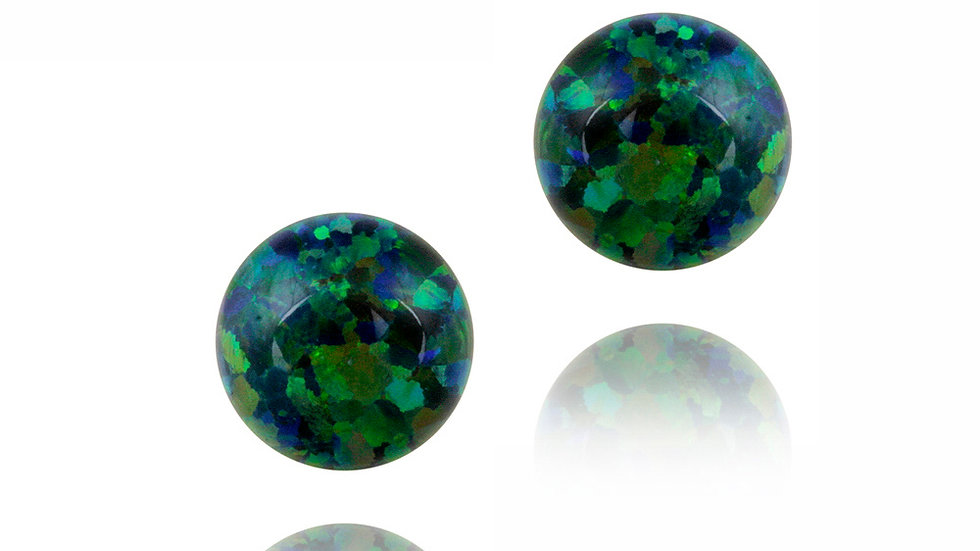 Sterling Silver Created Dark Green Opal Ball Stud Earrings, 8mm