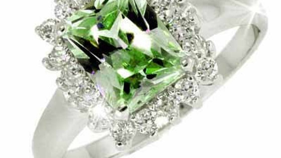 Sterling Silver Emerald Cut Olive Green & Clear CZ Ring Size 6