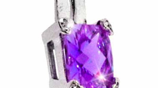 Sterling Silver Sim. Amethyst CZ and Simulated Diamond CZ Square Heart Pendant