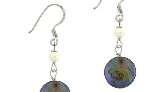 Sterling Silver Freshwater Cultured Peacock Coin Pearl Dangle Earrings