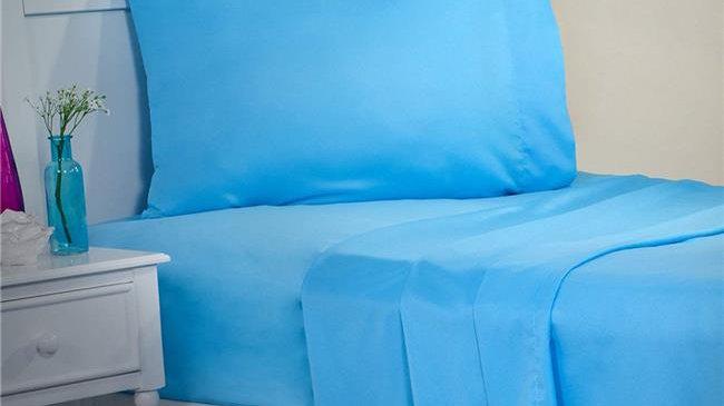 Bedford Home 66A-62975 1200-Series 3 Piece Sheet Set; Twin Size - Blue