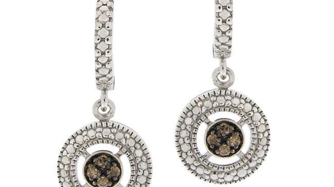 Sterling Silver 1/10ct TDW Champagne Diamond Round Dangle Hoop Earrings