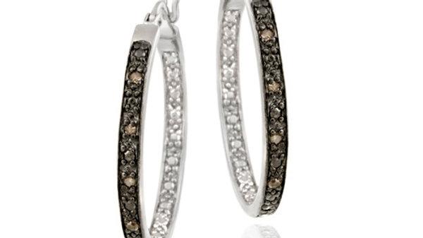 Sterling Silver .10ct. TDW Champagne Diamond 25mm Hoop Earrings