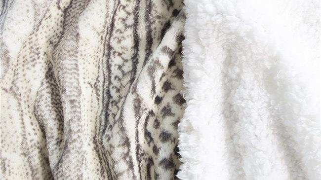 Bedford Home  Flannel Sherpa Blanket; King Size - Grey & Beige