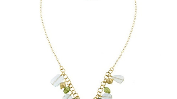18K G over Silver Satin, Crystal, Blue Quartz, Peridot Beads & Chips Necklace