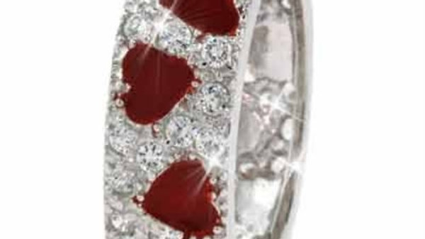 Sterling Silver Red Enamel & CZ Ring Size 9