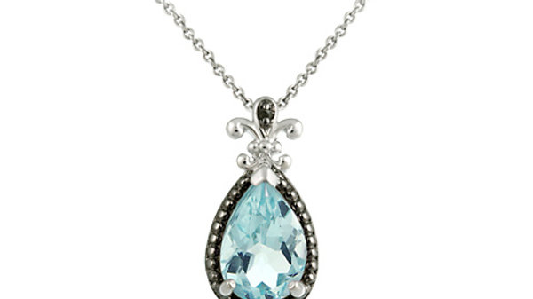 Silver 3.7ct. TGW Blue Topaz and Black Diamond Accent Pear Shaped Pendant