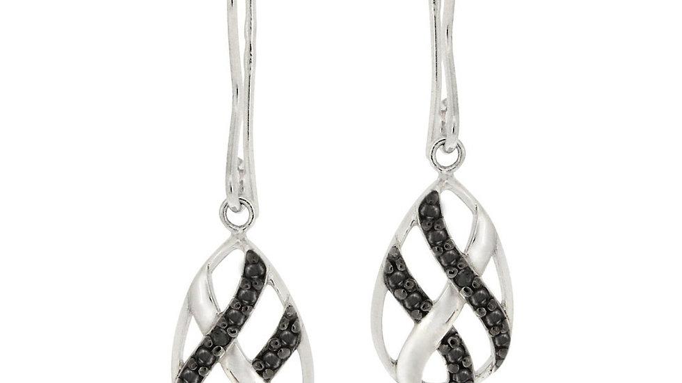 Sterling Silver Black Diamond Accent Woven Teardrop Dangle Earrings