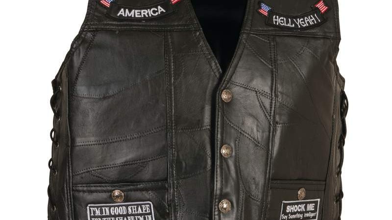 MOTORCYCLE VEST W/PATCHES-4X