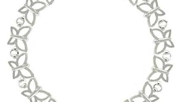 Summer Filigree Butterfly Link Sterling Silver Tennis Bracelet