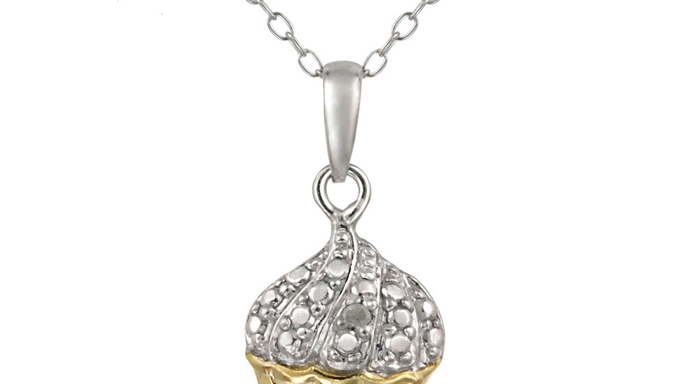 Sterling Silver Two Tone Diamond Accent Cupcake Necklace