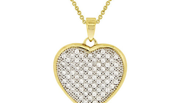 18K Gold over Sterling Silver CZ Micro Pave Heart Two-Tone Pendant