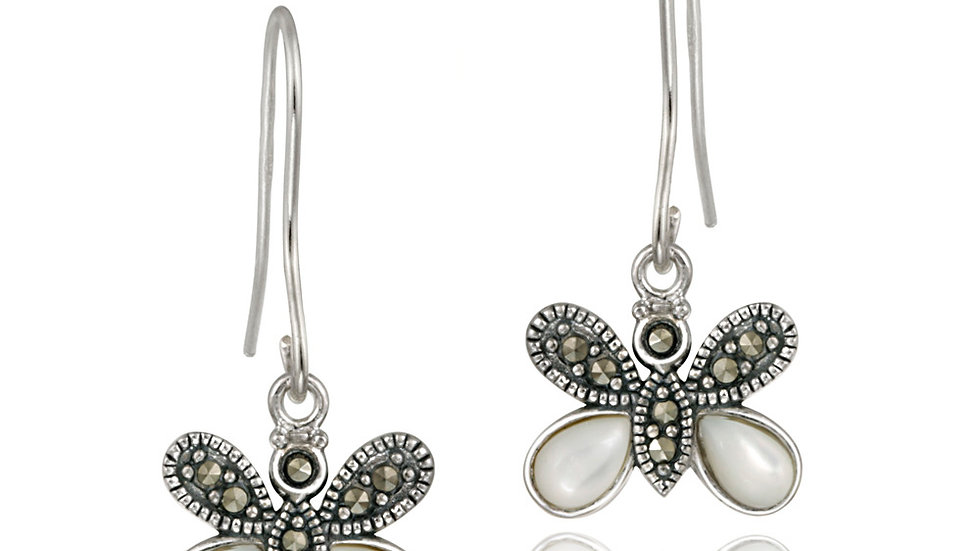 Sterling Silver Marcasite & Mother of Pearl Butterfly Earring