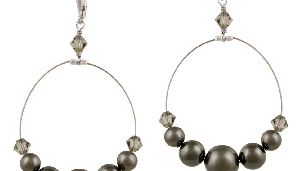 Sterling Silver D. Gray Swarovski Pearl & Crystal Dangle Wire Leverback Earring