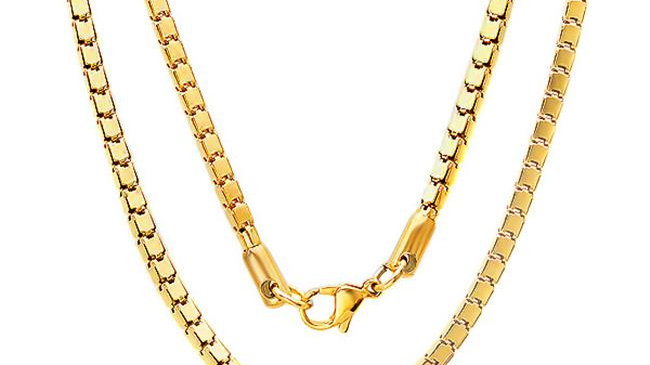 Mens Stainless Steel 18 Kt Gold Plated Ip Box Chain
