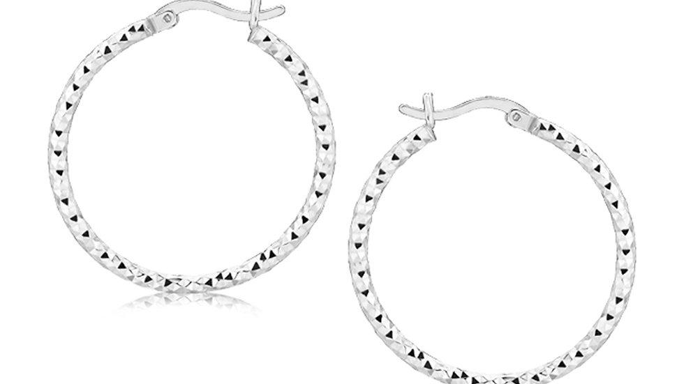 Sterling Silver Faceted Motif Hoop Earrings with Rhodium Plating