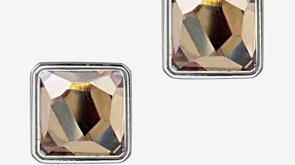 Sterling Silver Swarovski Elements Golden Shadow Square Stud Earrings