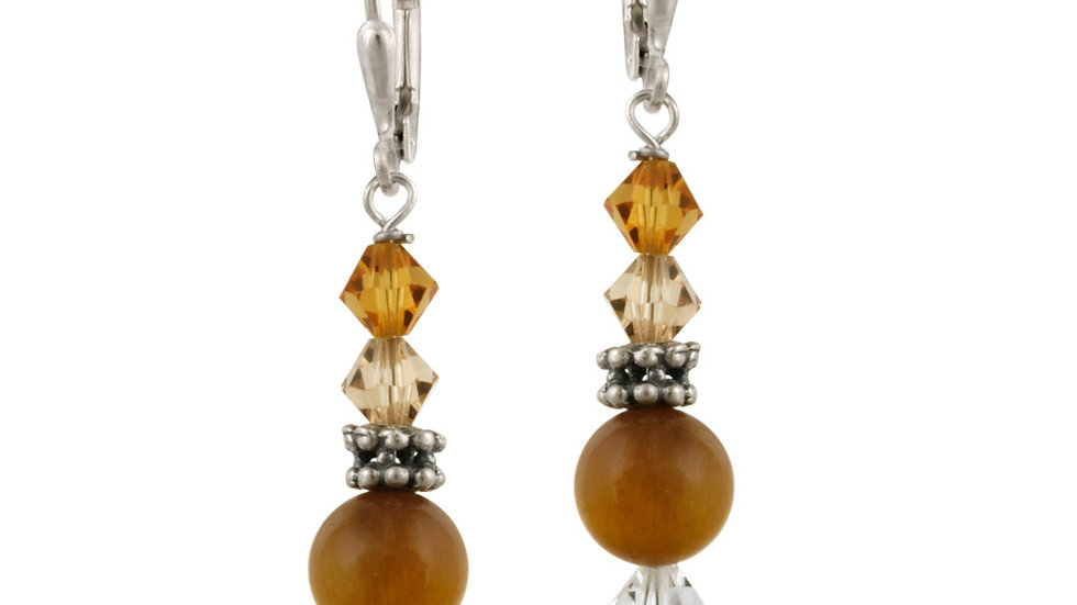 Sterling Silver Tigers Eye & Swarovski Elements Leverback Earrings