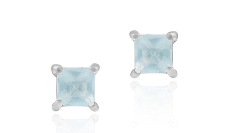 Sterling Silver Aqua CZ Square Stud Earrings