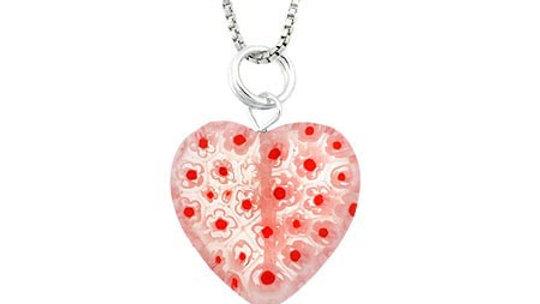 Murano Glass Sterling Silver Bead Orange White Millefiori Flower Heart Pendant