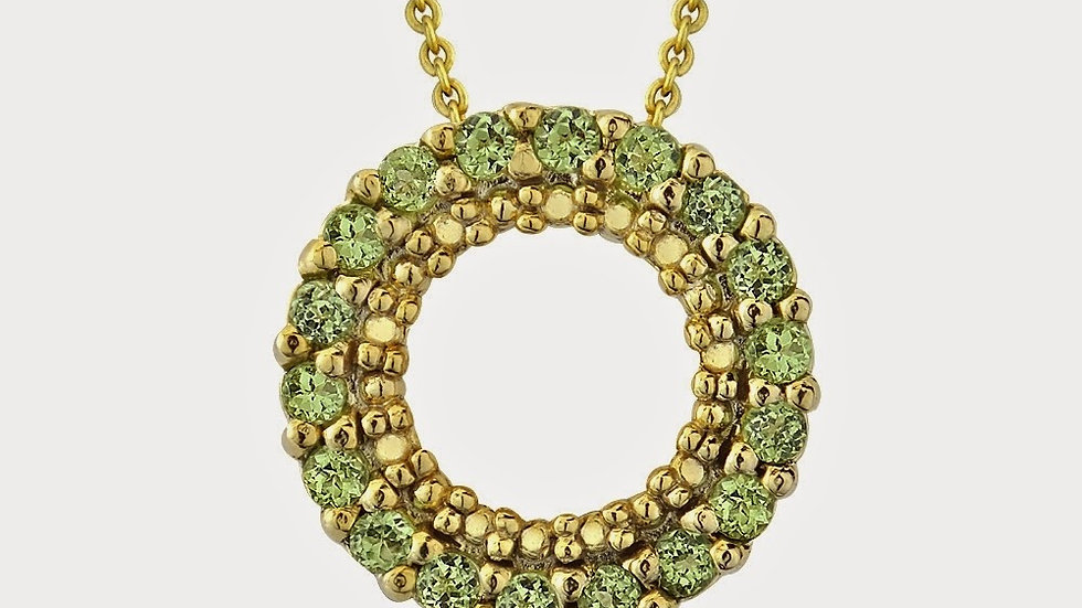 18K Gold over Sterling Silver 1/2ct Peridot Circle Eternity Pendant