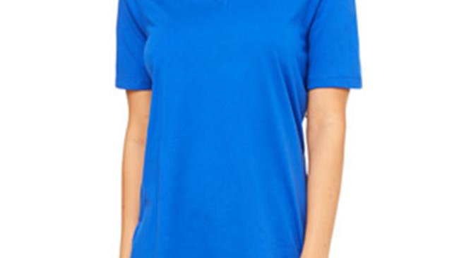Bella  Ladies Relaxed Jersey Short-Sleeve V-Neck Tee - True Royal; Extra Large