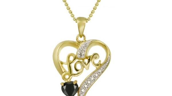"18K Gold over Sterling Silver Sapphire & Diamond Accent ""Love"" Heart Pendant"