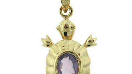 18K Gold over Sterling Silver 1ct Amethyst Turtle Pendant
