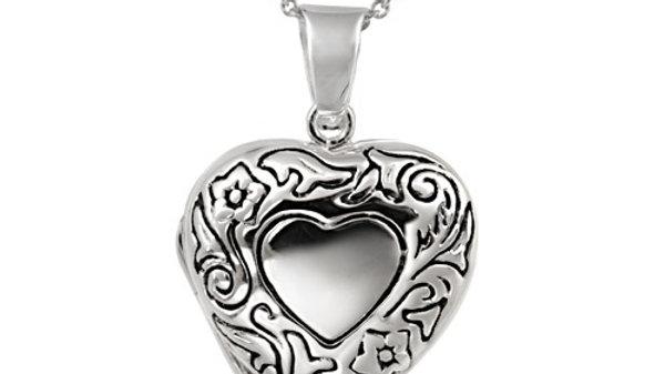 Sterling Silver Etched Flower Heart Locket Pendant