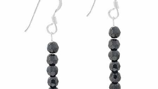 Sterling Silver Hematite 6 Bead Dangle Earrings