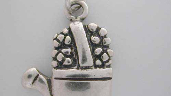 Silver Watering Can with Flower CHARM 4 bracelet