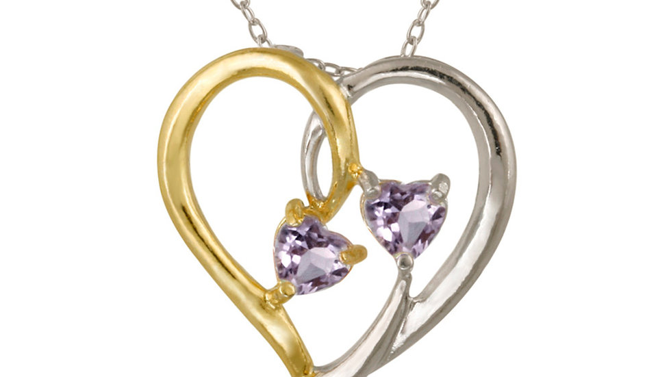 Sterling Silver Two Tone Amethyst Heart Pendant