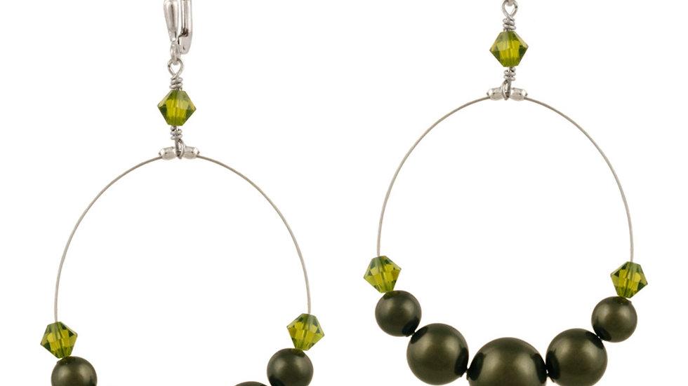 Sterling Silver Green Swarovski Pearl & Crystal Dangle Wire Leverback Earrings