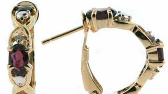 18K Gold over Sterling Silver Garnet & Diamond Accent X & O Earrings