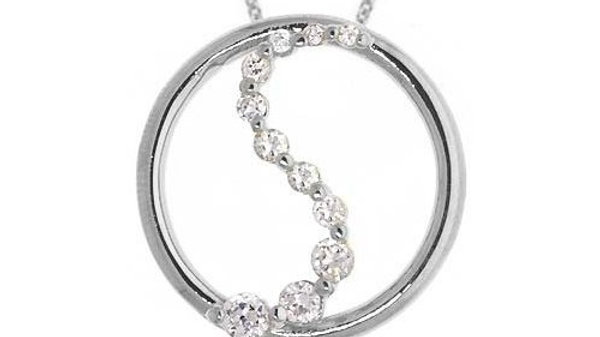 Sterling Silver CZ Journey Circle Necklace, 18""