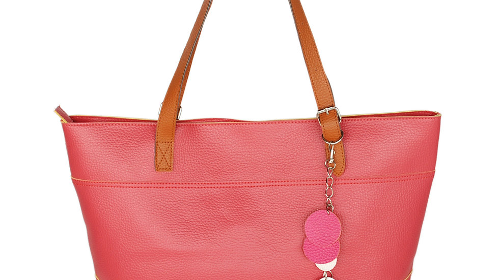 [Dolce Pink Lady] Fashion Double Handle Leatherette Satchel Bag Handbag Purse