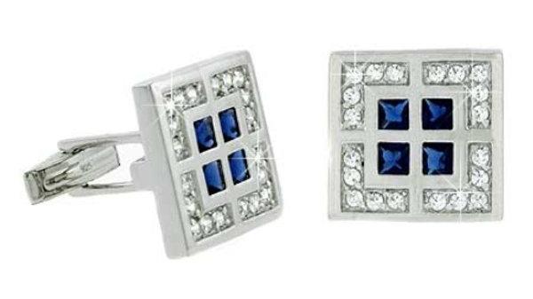 Sterling Silver Clear & Blue CZ Square Geometric Men's Cufflinks