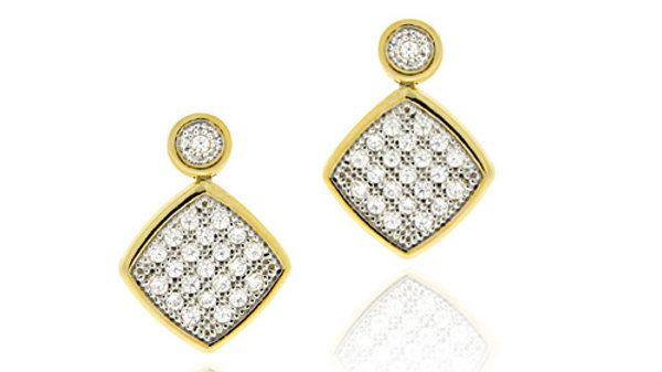18K Gold over Sterling Silver Two-Tone CZ Micro Pave Dangle Earrings