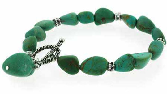 925 Sterling Silver Genuine Green Turquoise Nugget & Bali Bead Bracelet