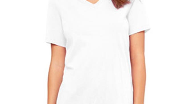 Bella 6405 Ladies Relaxed Jersey Short-Sleeve V-Neck Tee - White; 2XL
